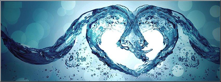 ảnh bìa tạo hình trái tim từ nước