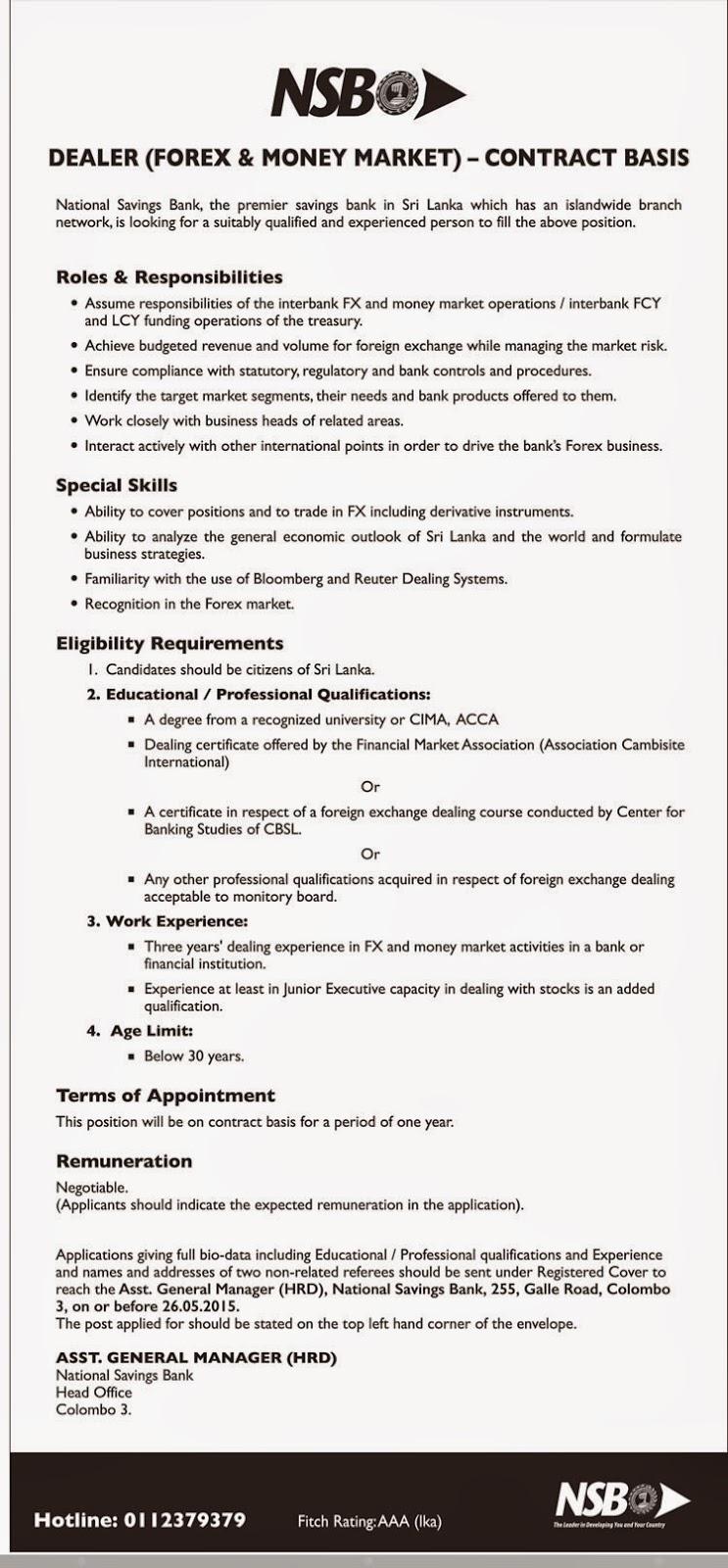 Forex job vacancy