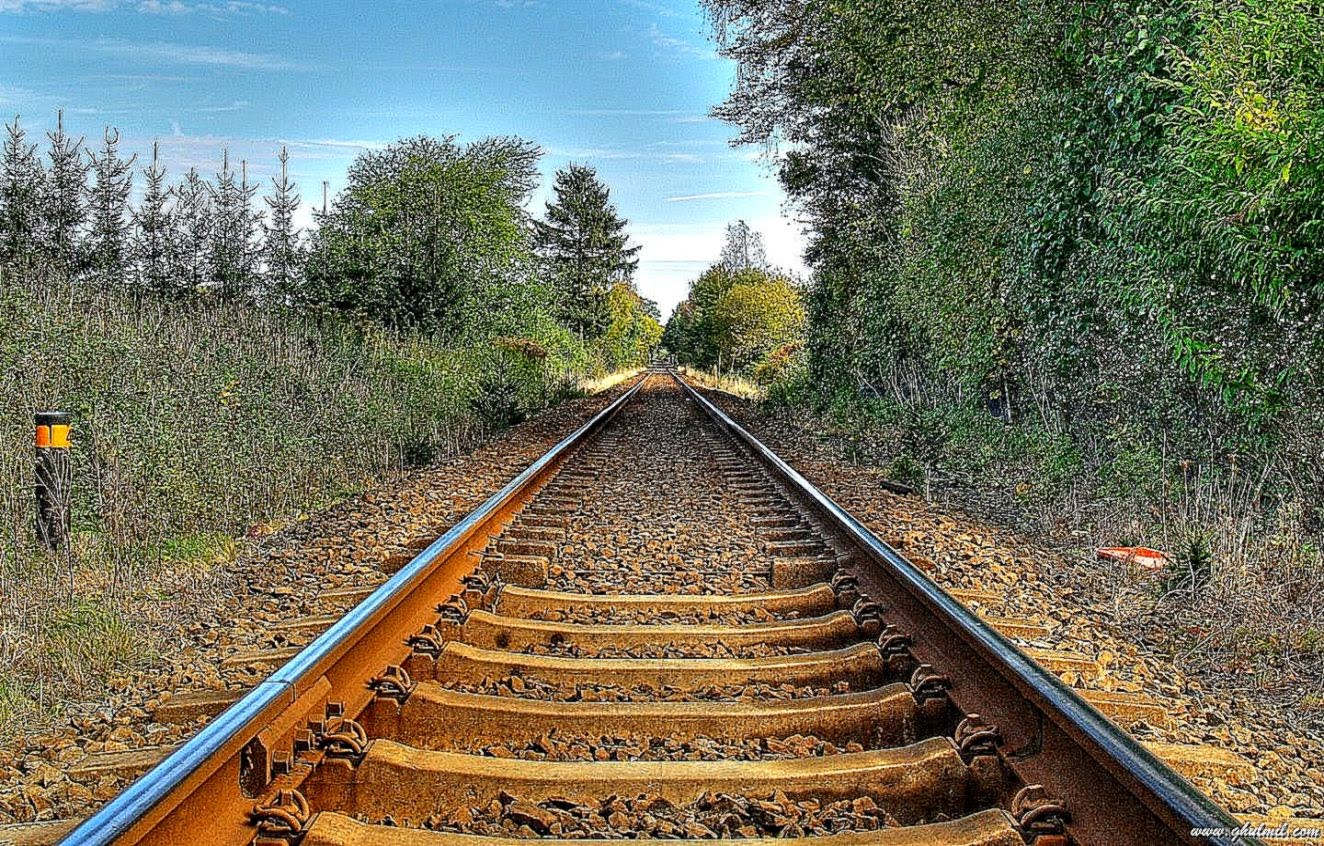 Rail track on the beach wallpapers hd background wallpaper gallery - Track wallpaper hd ...