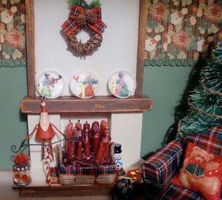 decoración navideña chimenea en miniatura
