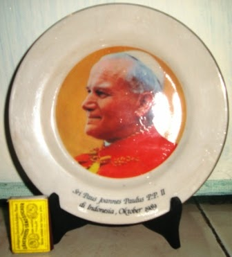 (Rare)Piring Peringatan Asli Kedatangan Paus Yohannes Paulus 2 1989
