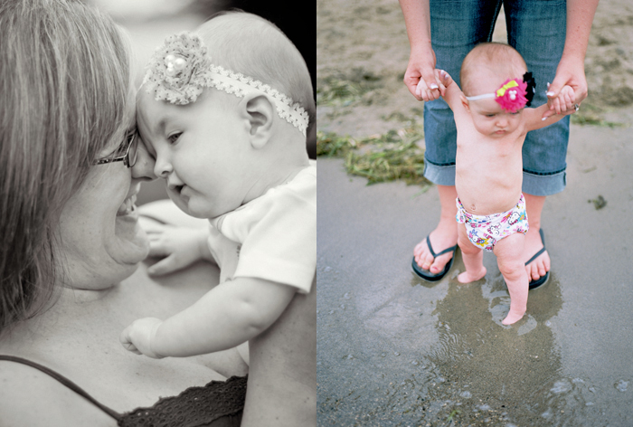 Mom & daughter photo, Black & White children's portraits, baby wading on beach photo