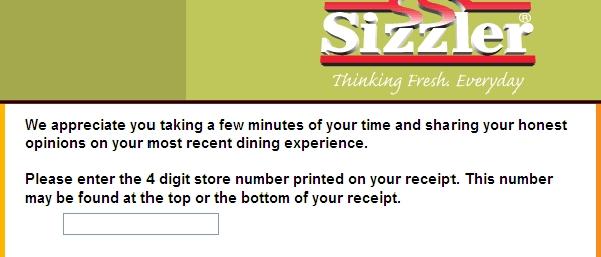 Click here to start sizzlersurvey com survey