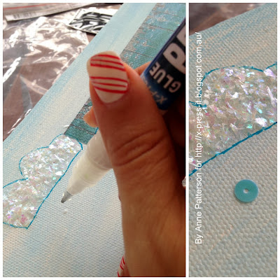 Using X-Press IT Glue Pen for Sticking Sequins in Place