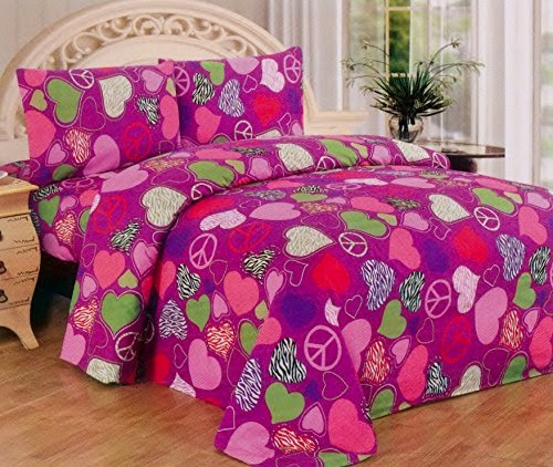 Pink Purple Zebra Hearts Peace Sign Girls Sheet Set