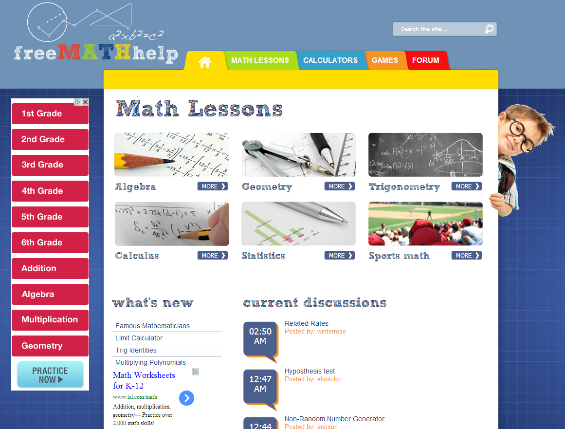 learning never stops great math websites for students of any age the site also includes five calculators as well as four games which are targeted for younger math students math help is a useful resource that parents