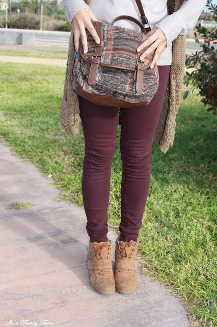 Green, brown & burgundy outfit