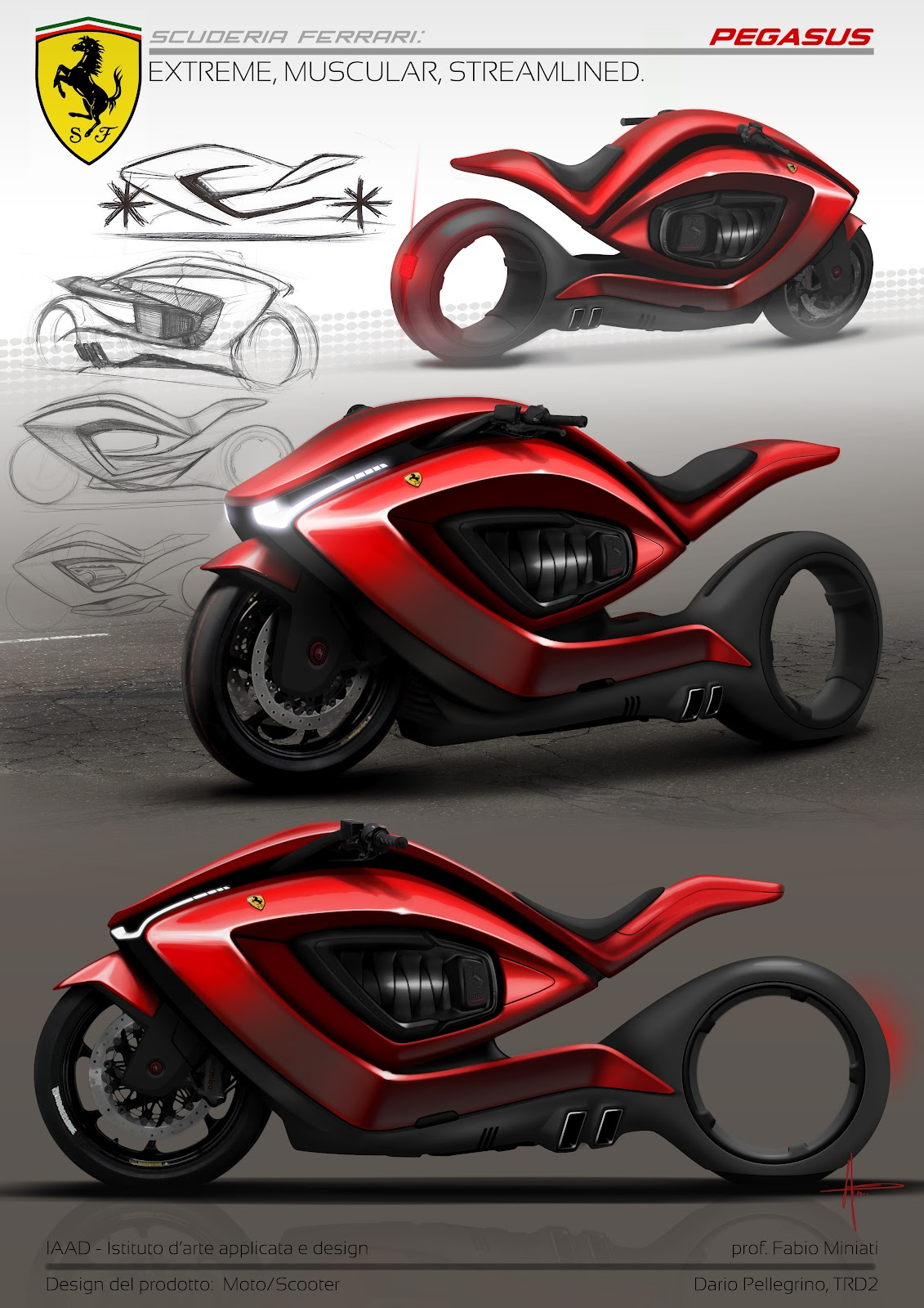 Ferrari Motorcycle | Ferrari Motorcycle Concept | Ferrari Motorcycle design | Ferrari Motorcycle Rendering | way2speed.com