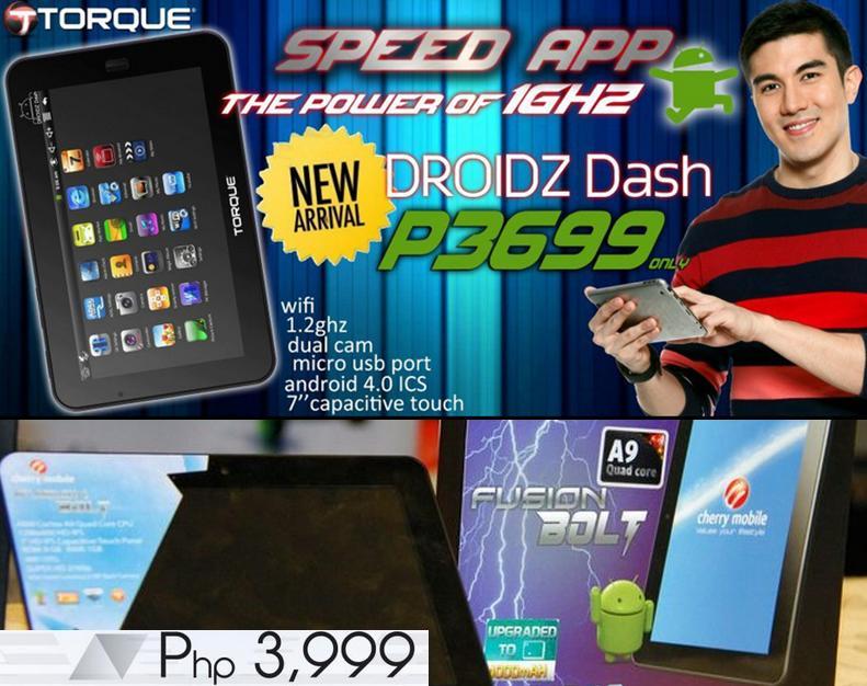 Android tablets - Cherry Mobile FUSION BOLT vs Torque DROIDZ Dash