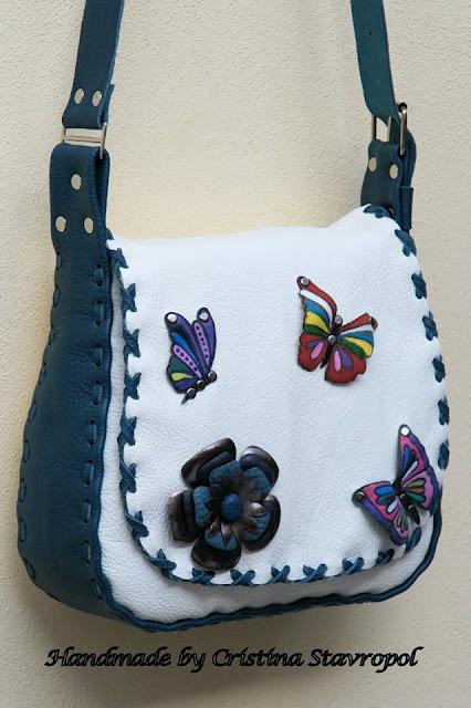 geanta din piele alba
