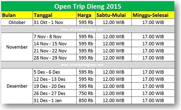 daftar harga wisata dieng 2015