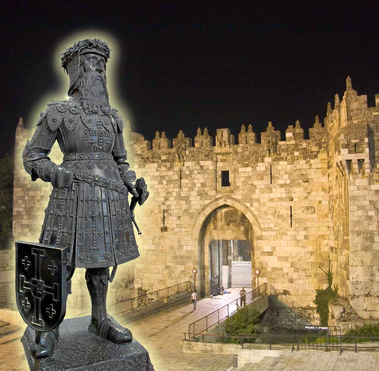 Godofredo de Bouillon. Fundo: Puerta de Damasco em Jerusalém.