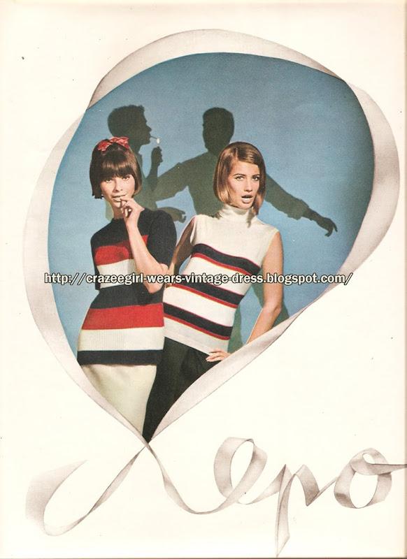 Maille et jerseys Lepoutre - 1965 striped knit top 60s 1960