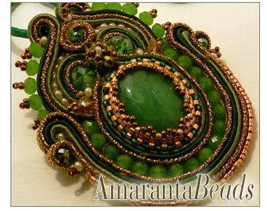 Green Soutache Pendant - Jewelry