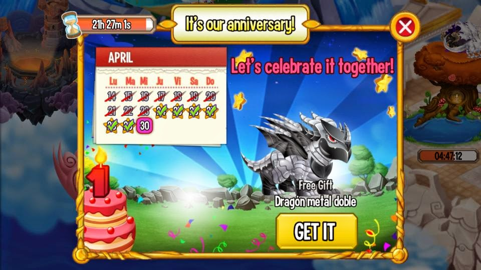 imagen del calendario de aniversario de dragon metal doble de dragon city ios