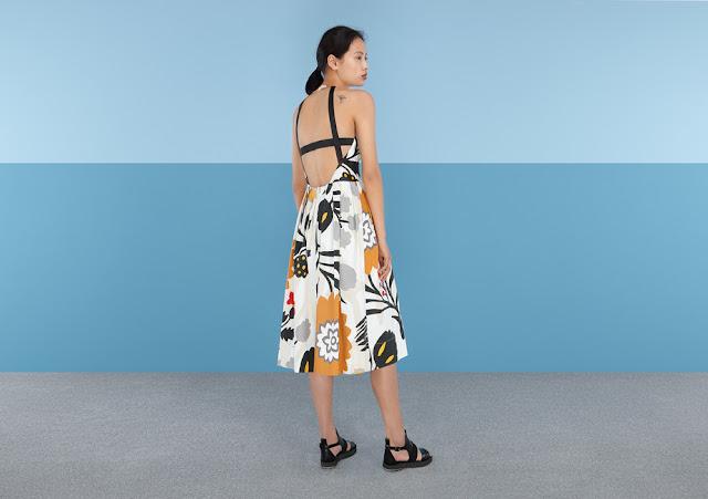 black strap back patterned dress