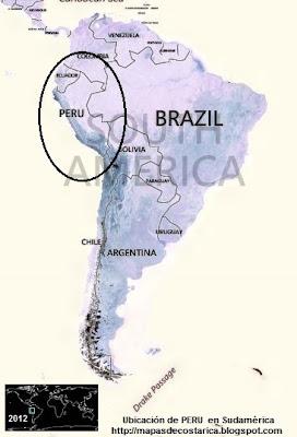 Ubicación de PERU en Sudamérica, vista aérea, BING