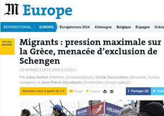 Le Monde: Η Κομισιόν εξετάζει αύριο την «έξωση» της Ελλάδας από τη Σένγκεν