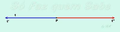 O ponto P determina na reta t duas semi-retas