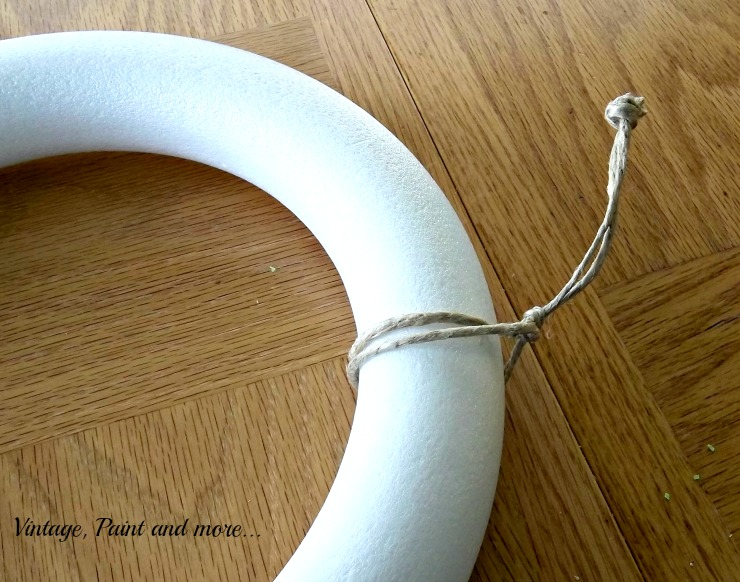 Vintage, Paint and more... using twine to make a hanger for a wreath made with a Styrofoam wreath form