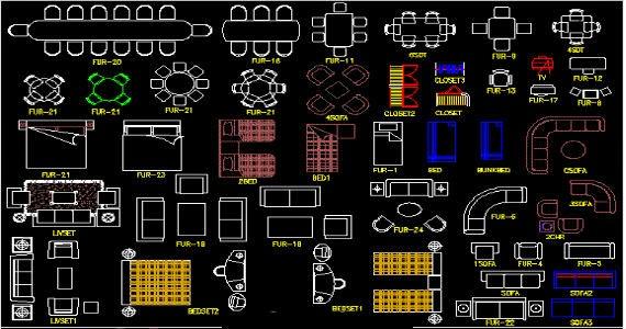 Célèbre Meubles blocs CAD - bibliotheque architecture CZ91