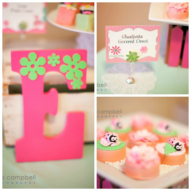 dessert table ideas for girl baby shower, painted initial, lil ladybug