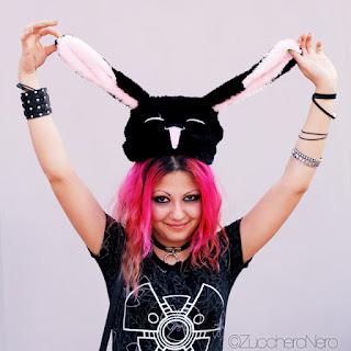 cappello a forma di coniglio nero cosplay