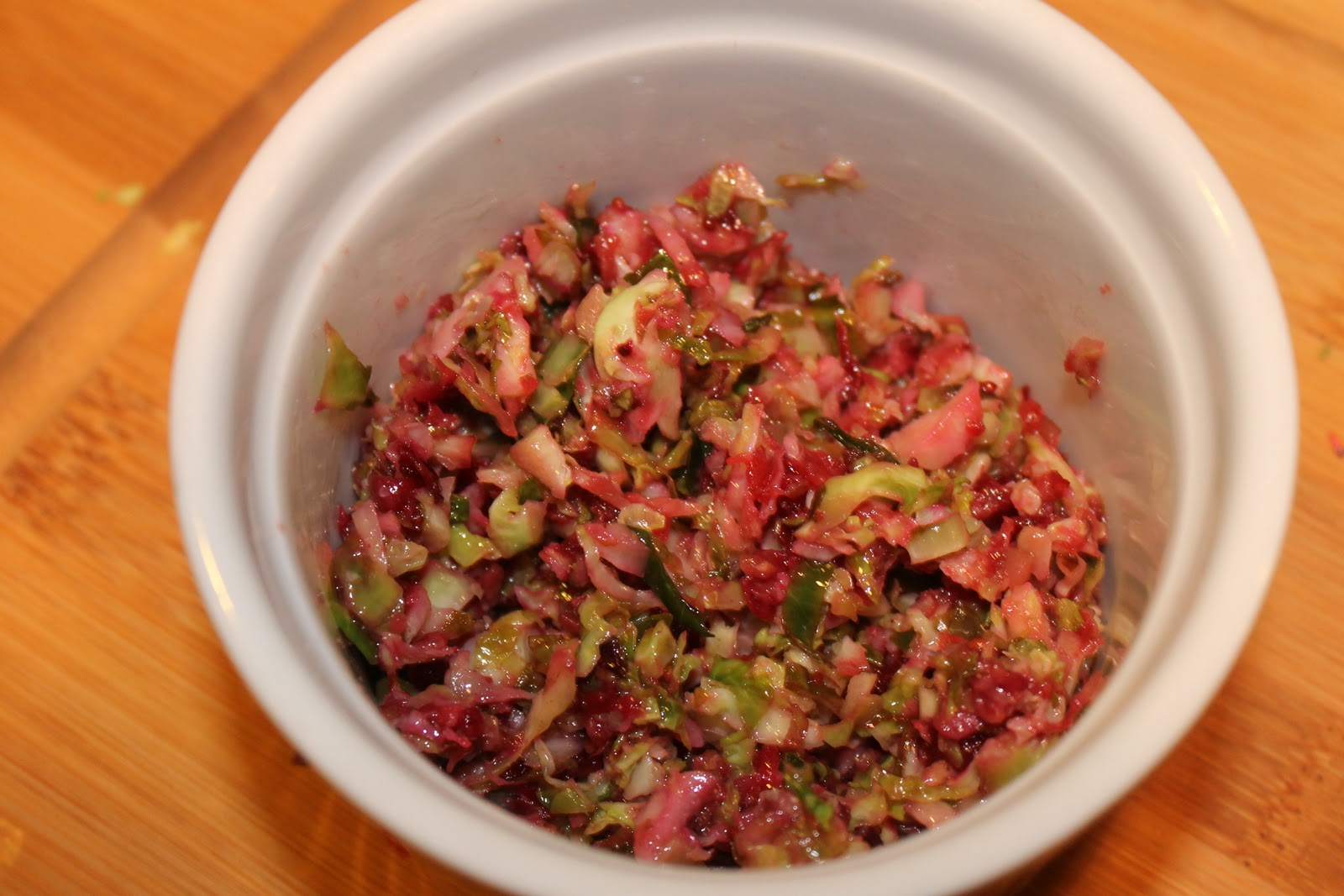 Warm Brussels Sprouts and Cranberry Slaw