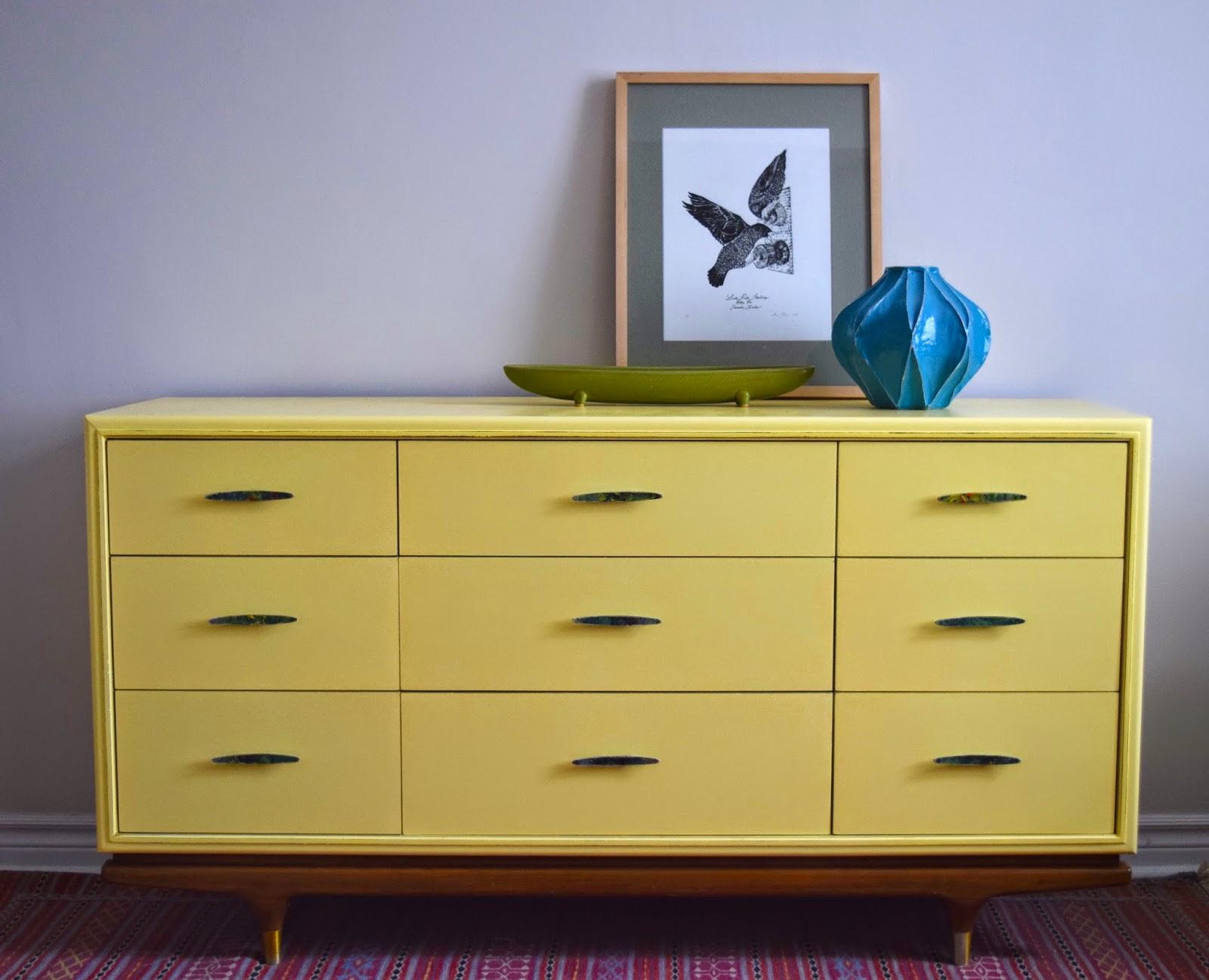 Yellow Mid Century Modern Dresser Credenza