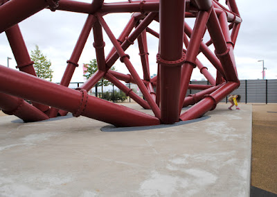 Concrete plinths and base structure of ArcelorMittal Orbit