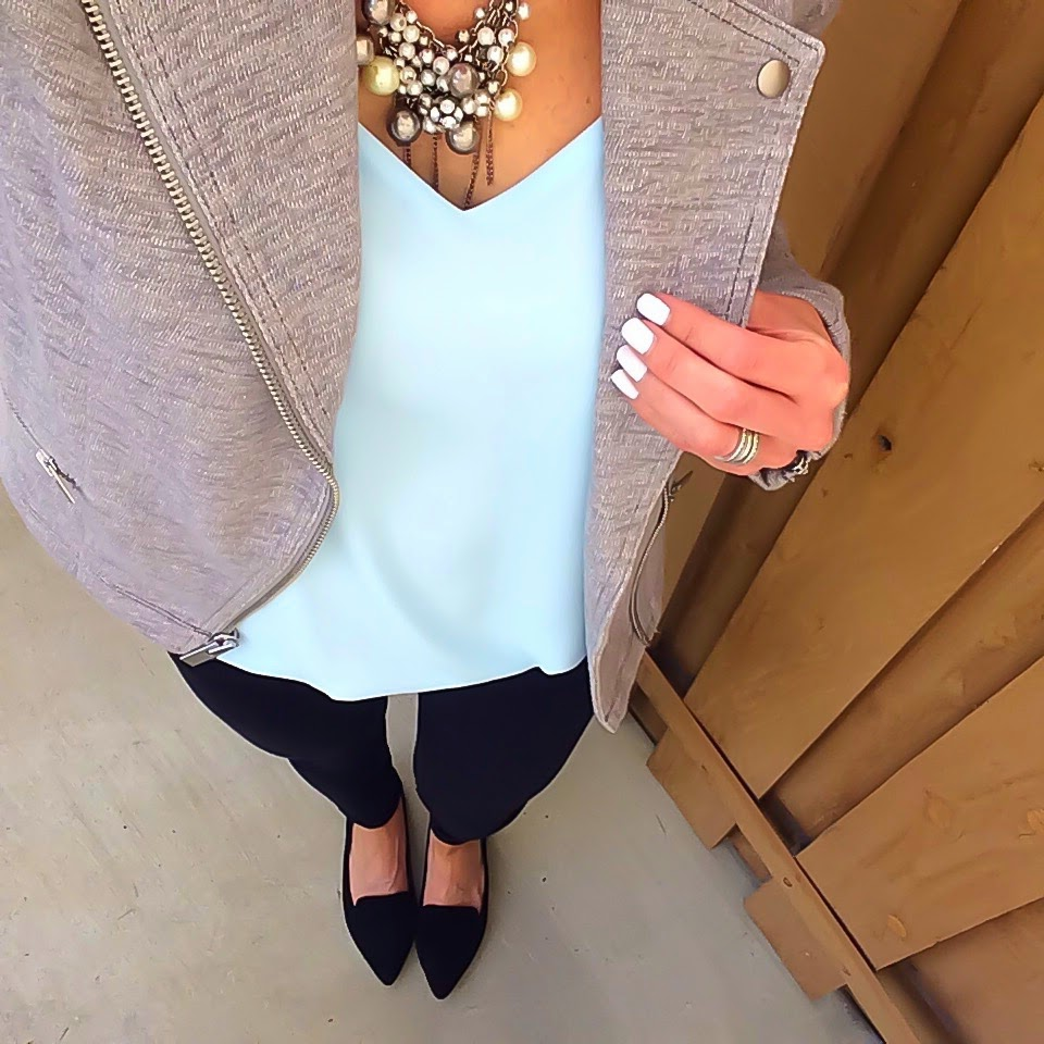 Gap Moto Jacket, Express Barcelona Cami, Sole Society Flats