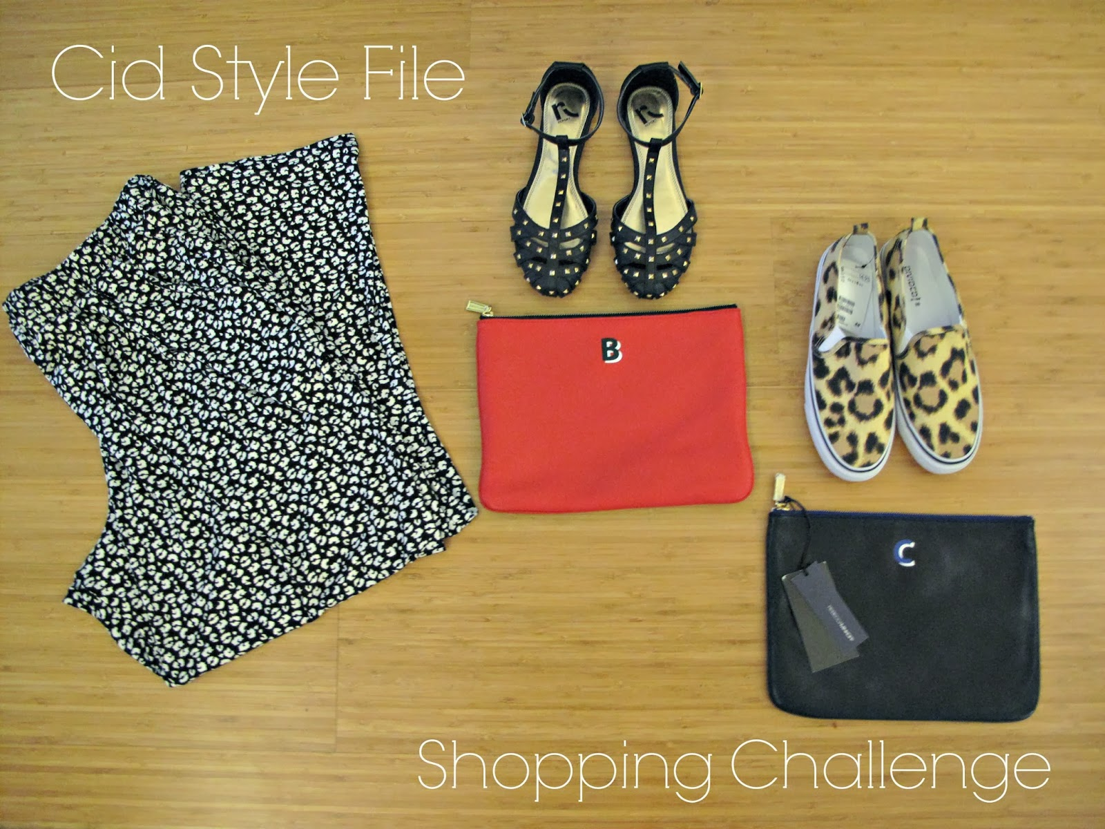 rebecca minkoff, monogram pouch, leopard plimsolls, stud flats, slouchy pants, shopping challenge,