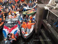 Boats at Koninginnedag Amsterdam
