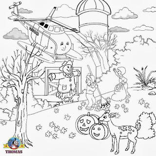 Leaf sweeping fall farmyard orchard tree fun Trick or treat printable coloring sheets for youngsters