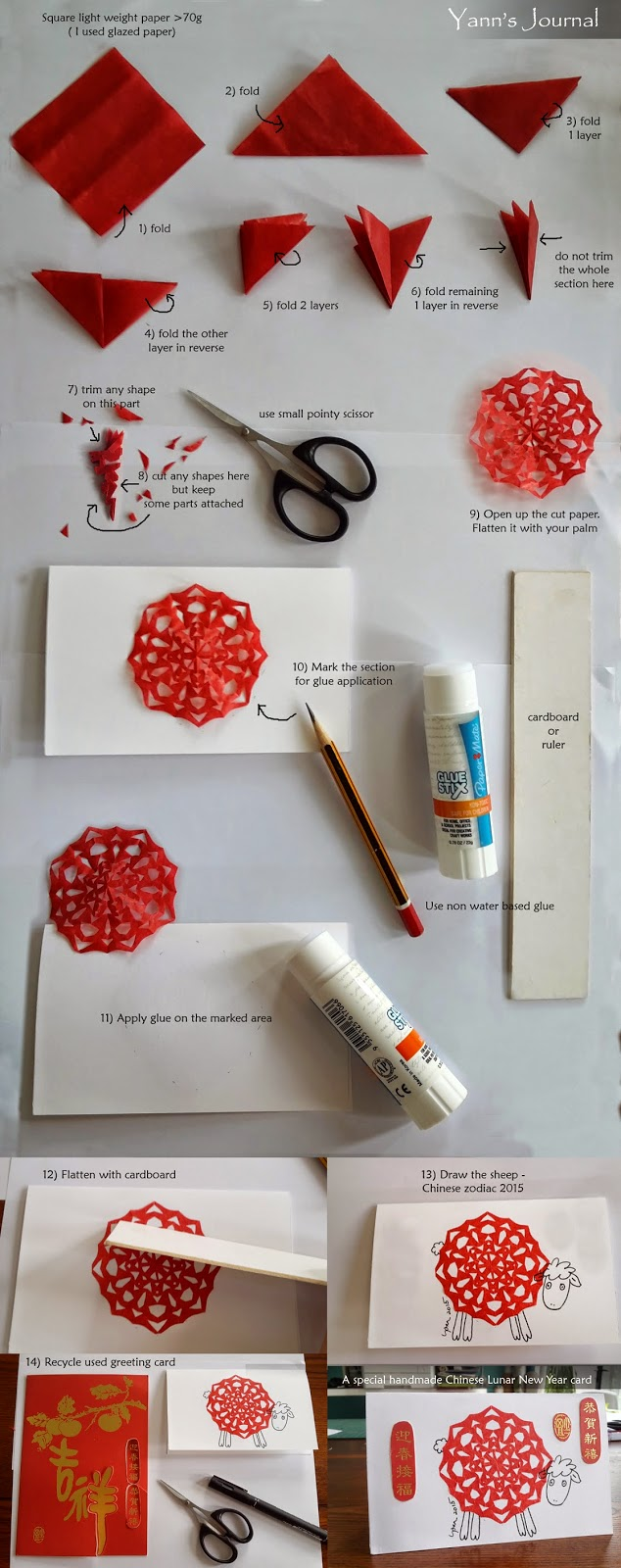 Chinese Lunar New Year Greeting Card With Paper Cutting Yanns
