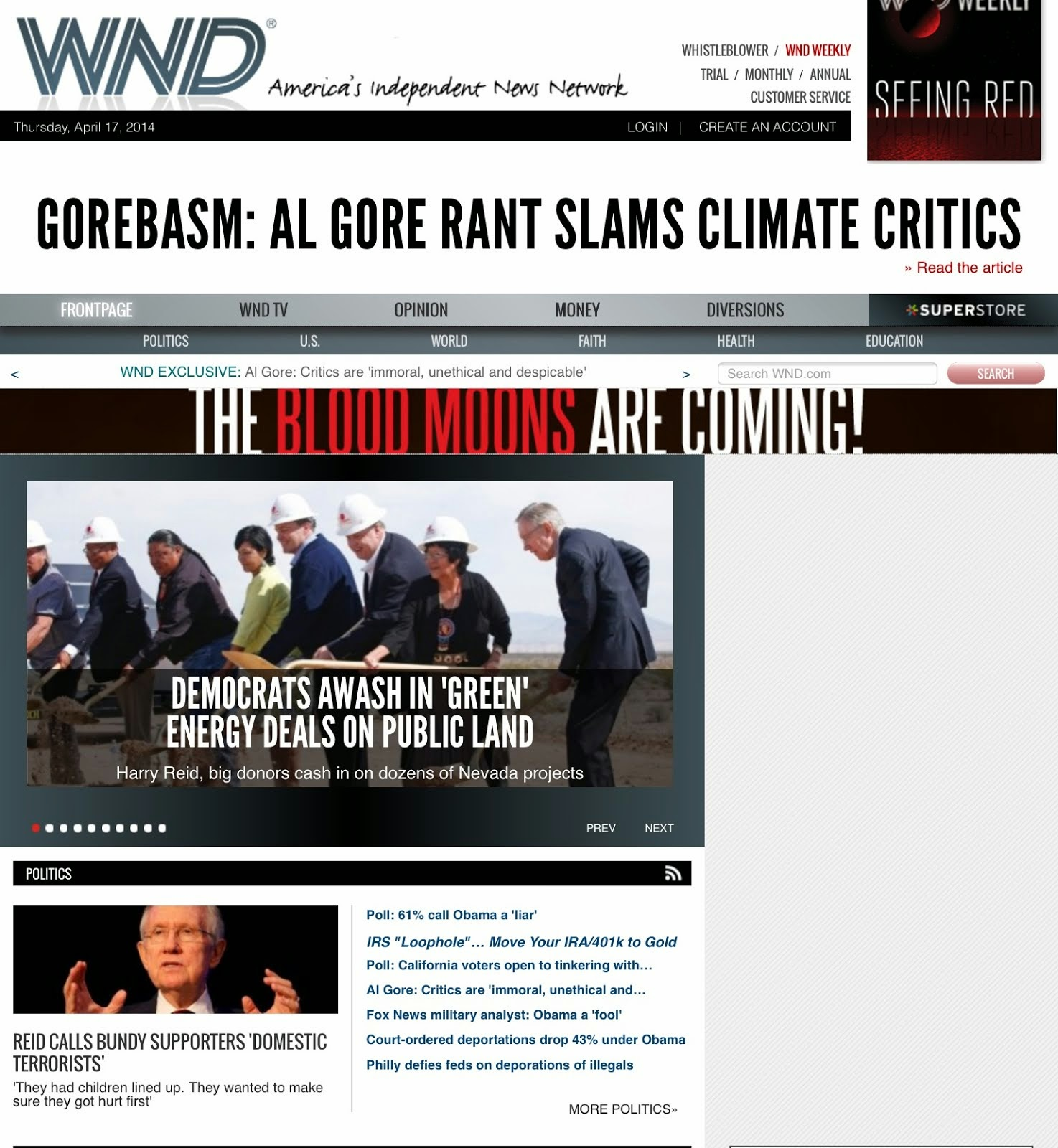 April 18, 2014: The Green Corruption Files cited in WND EXCLUSIVE by  Jerome Corsi