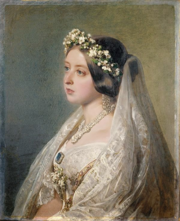Queen Victoria in her famous white wedding dress
