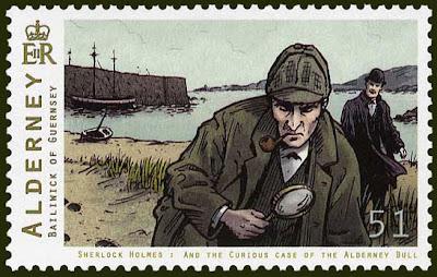 Sherlock Holmes stamp, Alderney, Guernsey