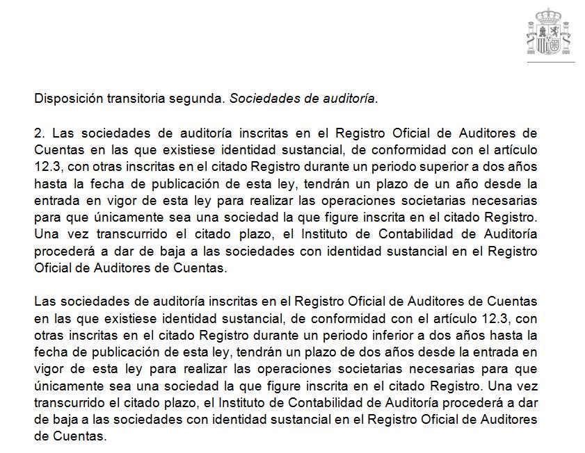 Anteproyecto Ley Auditoría de Cuentas identidad sustancial