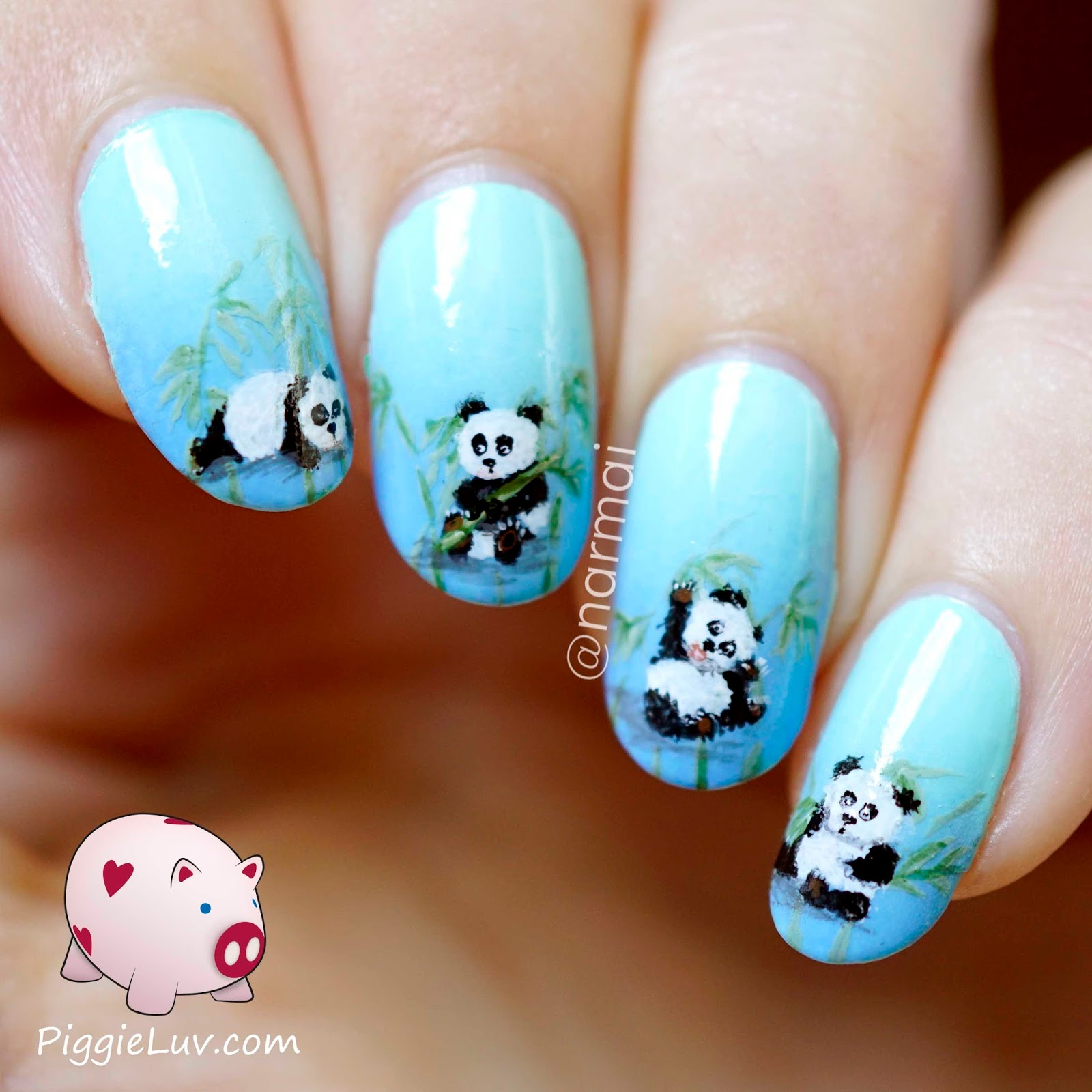 Piggieluv panda babies nail art who doesnt love panda babies theyre fluffy cute and clumsy so they always make me laugh i gave them some bamboo in the background to munch on i prinsesfo Images
