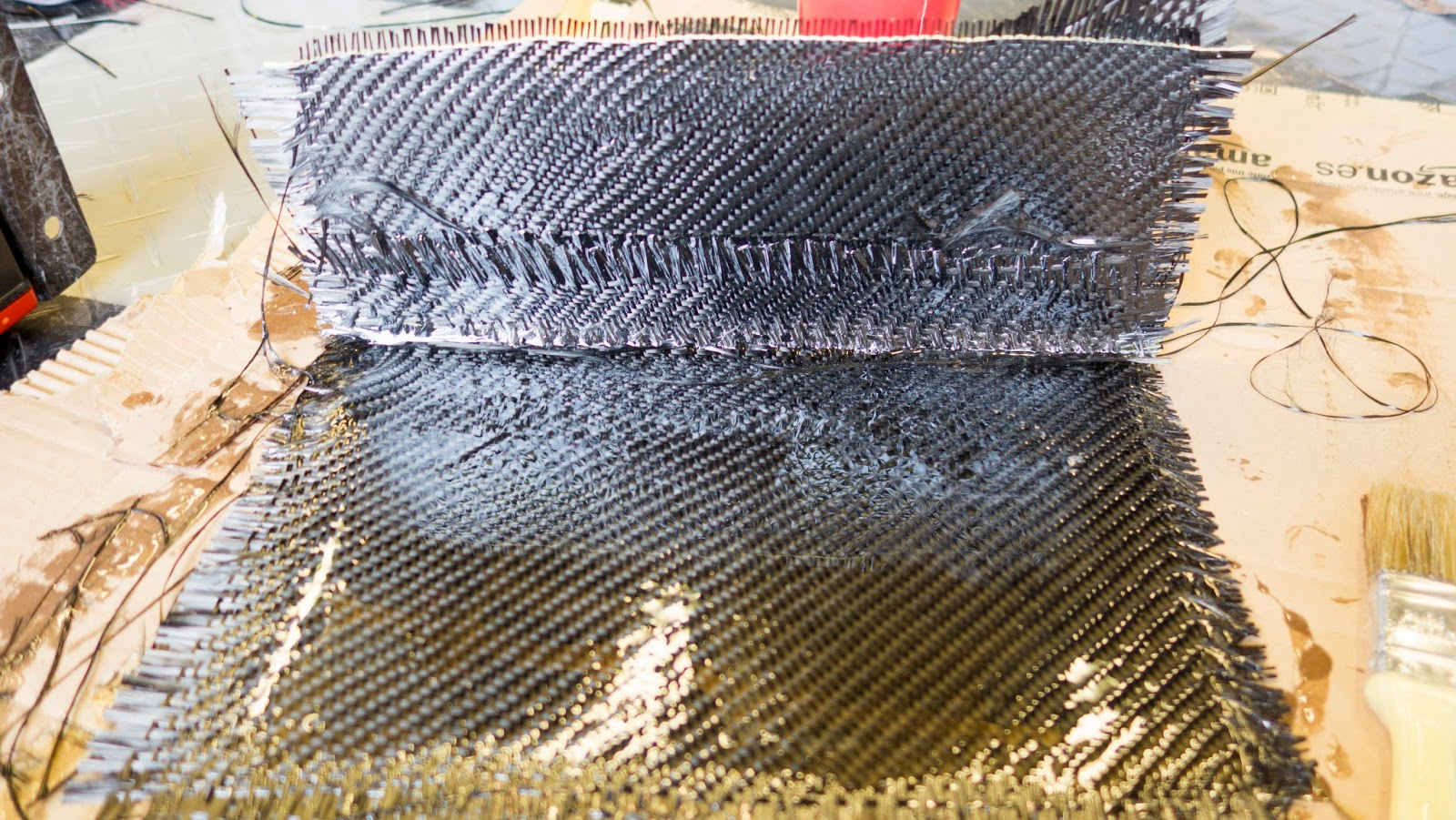 Third and final sheet of carbon fibre laid