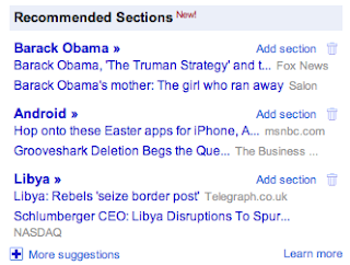 Google News for You, Recommended Sections