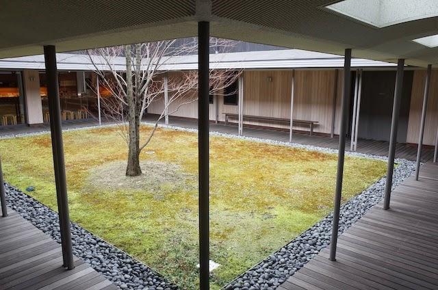 伊丹十三記念館の中庭 桂の木がある中庭 宮本信子さんが、伊丹監督が腹這いで本を読んでるイメージを