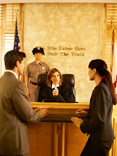 Photo of a Constable standing behind a budget in court, with two attorneys in the foreground.