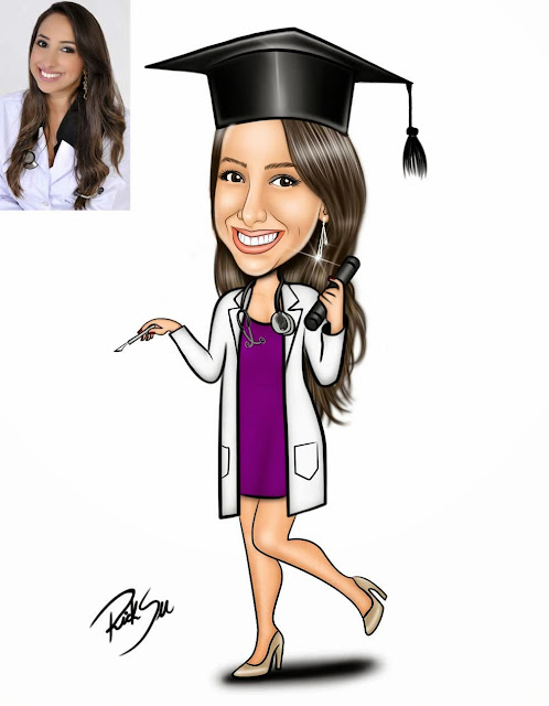 caricatura de formandos medicina com ricksu caricaturas
