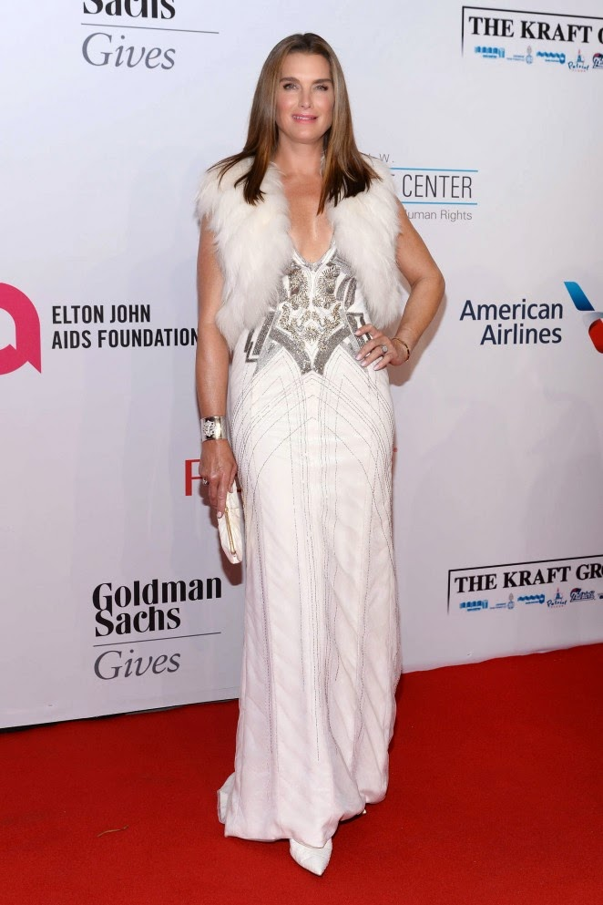 Brooke Shields dazzles in a low cut gown at the Elton John AIDS Foundation Gala in NY