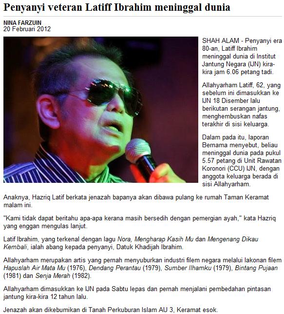 Penyanyi dan pelakon veteren Latif Ibrahim meninggal dunia