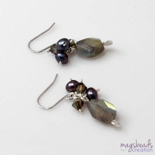 Handcrafted Artisan Jewelry from MagsBeadsCreation Etsy Shop - Labradorite Cluster Pearl and Crystal Earrings Giveaway