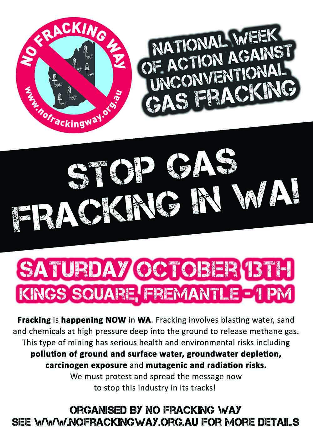 socialist alliance western australia rally against gas fracking in wa. Black Bedroom Furniture Sets. Home Design Ideas