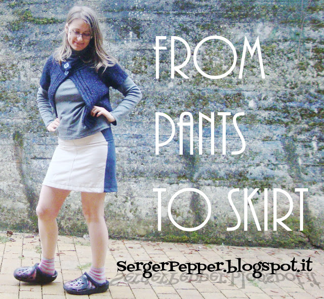 SergerPepper-From Pants To Skirt Refashion - Self Drafted Pattern